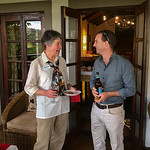 At the Plantation Lodge, Sue chats with Jo Anderson after our first day at Lake Manyara.