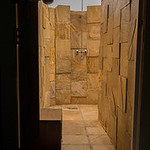 The shower, open to the sky outside.  But still walled in.